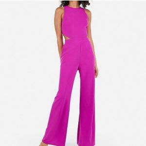 Express Cut-Out Side Jumpsuit -neon magenta